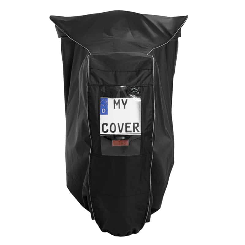Motorcycle protective cover with a license plate window. ACC. to § 10 ABs. 2 GZV and § 23 Abs. 1 StVO Obligation in Germany