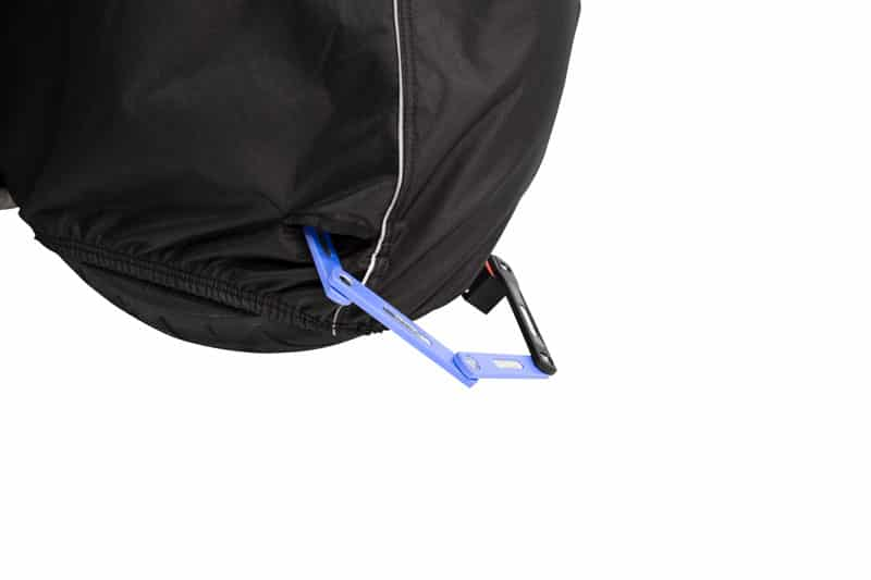 Motorcycle cover with anti-theft protection for the motorcycle lock