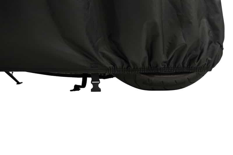 Windproof motorcycle tarp with safety straps for optimal protection in wind and weather
