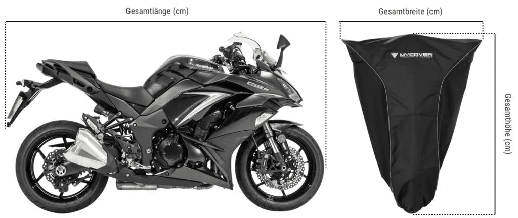 Motorradplane Kawasaki richtig vermessen für die MYCOVER® Motorradabdeckung
