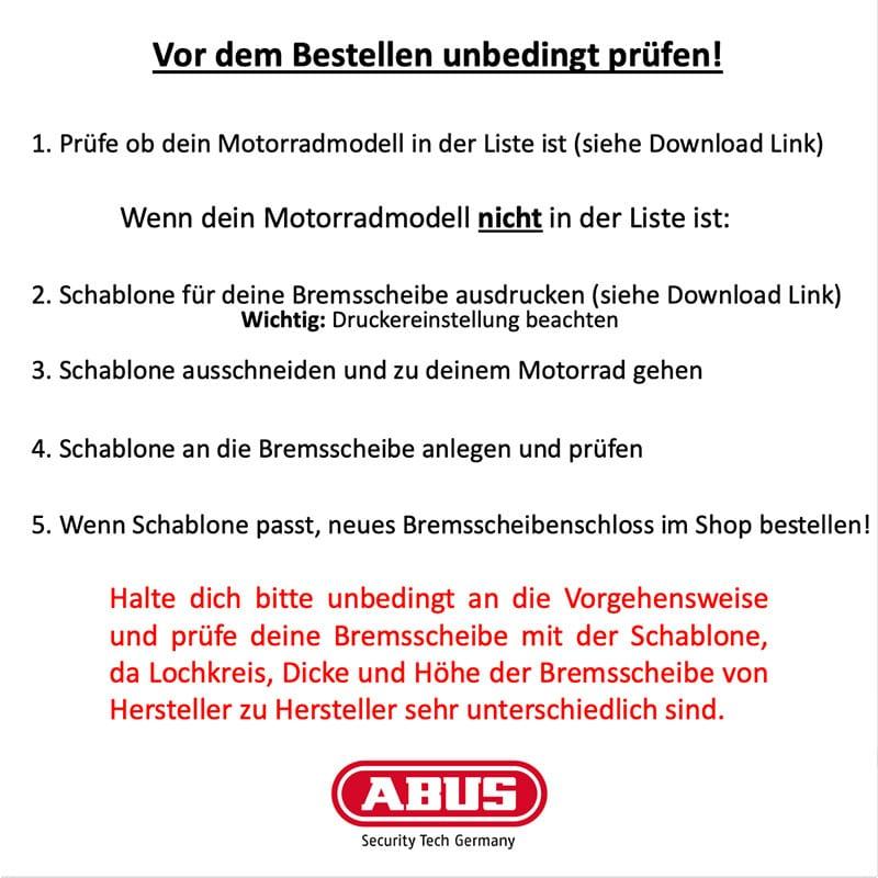 ABUS Motorrad Bremsscheibenschloss prüfen